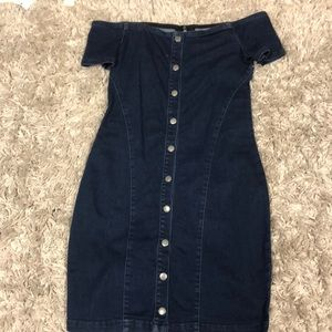 Jean button up front dress